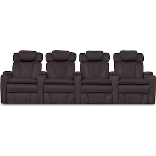 Fiero 4-Piece Dual-Power Reclining Home Theater Sectional - Godiva