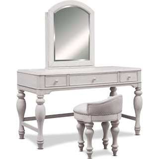 Florence Vanity with Mirror and Stool