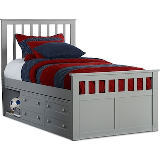Flynn Twin Captain's Bed - Gray