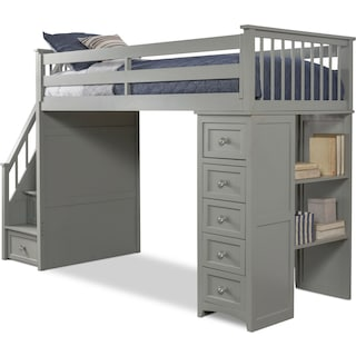 Flynn Twin Loft Bed with Storage Stairs and Chest - Gray