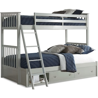 Flynn Twin over Full Storage Bunk Bed - Gray