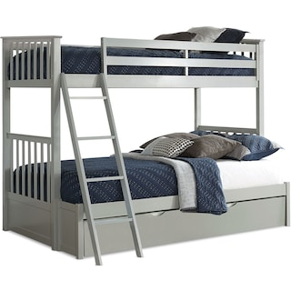 Flynn Twin over Full Trundle Bunk Bed - Gray
