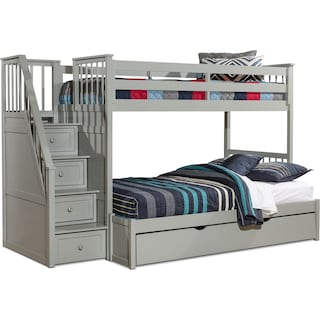 Flynn Twin over Full Trundle Bunk Bed with Storage Stairs - Gray