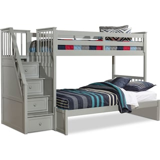 Flynn Twin over Full Bunk Bed with Storage Stairs - Gray