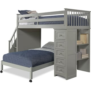 Flynn Twin over Twin Loft Bed with Storage Stairs and Chest - Gray