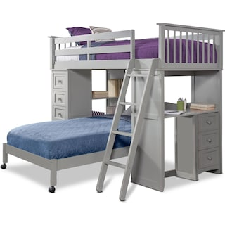 Flynn Twin over Twin Loft Bed with Desk and Chest - Gray