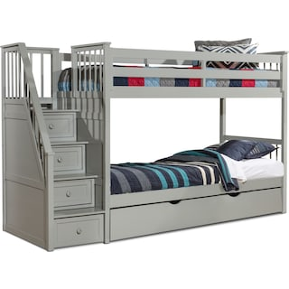 Flynn Twin over Twin Trundle Bunk Bed with Storage Stairs - Gray