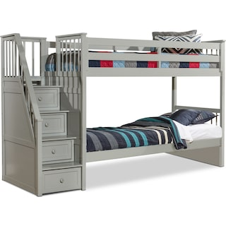 Flynn Twin over Twin Bunk Bed with Storage Stairs - Gray