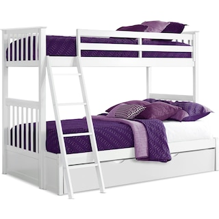 Flynn Twin over Full Trundle Bunk Bed - White