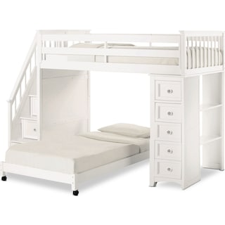 Flynn Twin over Full Loft Bed with Storage Stairs and Chest - White