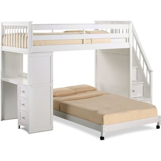 Flynn Twin over Full Loft Bed with Storage Stairs and Desk - White