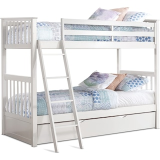 Flynn Twin over Twin Trundle Bunk Bed - White
