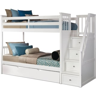Flynn Twin over Twin Trundle Bunk Bed with Storage Stairs - White