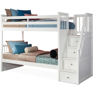 Flynn Twin over Twin Bunk Bed with Storage Stairs - White