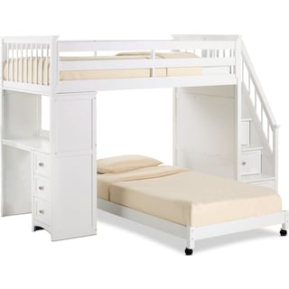 Flynn Twin over Twin Loft Bed with Storage Stairs and Desk - White