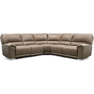 Gallant 5-Piece Dual-Power Reclining Sectional with 3 Reclining Seats - Taupe