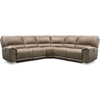 Gallant 5-Piece Manual Reclining Sectional with 3 Reclining Seats - Taupe