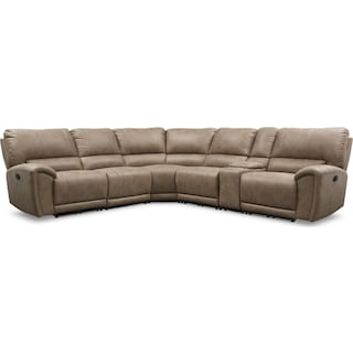 Gallant 6-Piece Manual Reclining Sectional with 3 Reclining Seats - Taupe