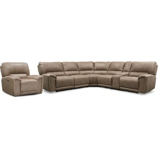 Gallant 6-Piece Dual-Power Reclining Sectional and Recliner Set - Taupe