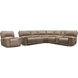 Gallant 6-Piece Manual Reclining Sectional and Recliner Set - Taupe