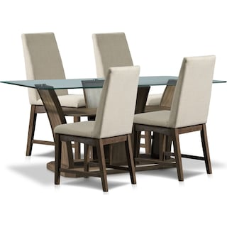 Gemini Dining Table and 4 Dining Chairs