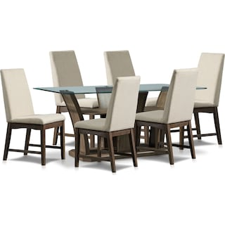 Gemini Dining Table and 6 Dining Chairs