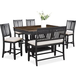 Glendale Kitchen Island, 4 Stools and Bench - Black