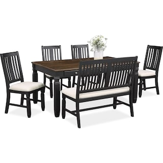 Glendale Dining Table, 4 Chairs and Bench - Black
