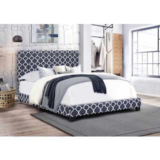 Grace Queen Upholstered Bed - Navy