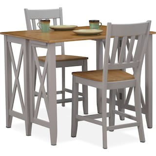 Nantucket Breakfast Bar and 2 Counter-Height Slat-Back Dining Chairs - Oak and Gray