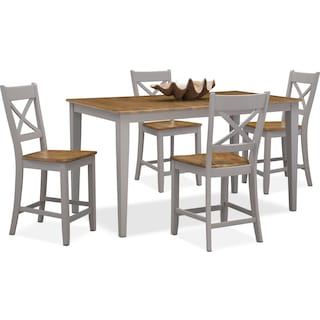 Nantucket Counter-Height Dining Table and 4 Dining Chairs - Oak and Gray