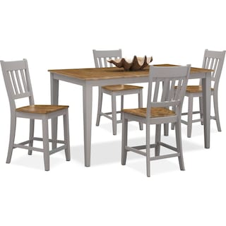 Nantucket Counter-Height Dining Table and 4 Slat-Back Dining Chairs - Oak and Gray