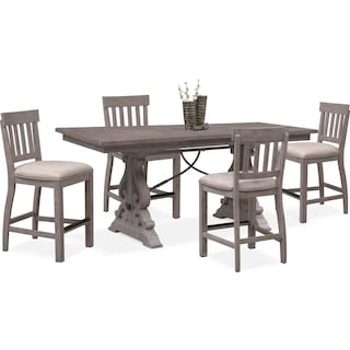 Charthouse Counter-Height Dining Table and 4 Stools - Gray