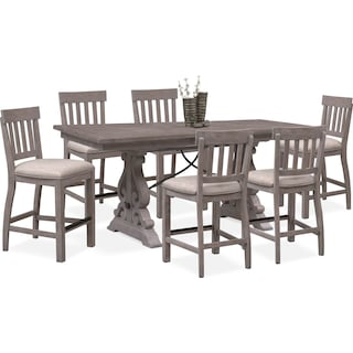 Charthouse Counter-Height Dining Table and 6 Stools - Gray