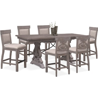 Charthouse Counter-Height Dining Table and 6 Upholstered Stools - Gray