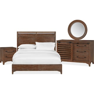 Gristmill 6-Piece Queen Bedroom Set with Nightstand, Dresser and Mirror - Cocoa