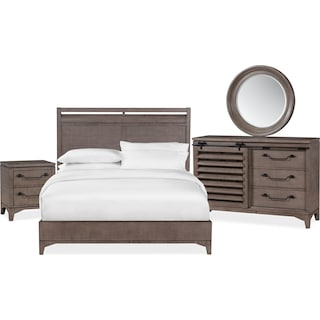Gristmill 6-Piece Queen Bedroom Set with Nightstand, Dresser and Mirror - Gray