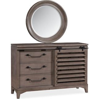 Gristmill Dresser and Mirror - Gray
