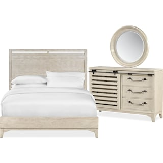 Gristmill 5-Piece Queen Bedroom Set with Dresser and Mirror - Linen