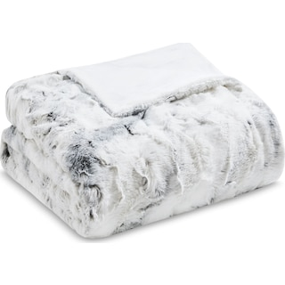 Hadley Faux Fur Throw - Gray