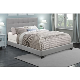 Hadley Queen Upholstered Bed - Dark Gray