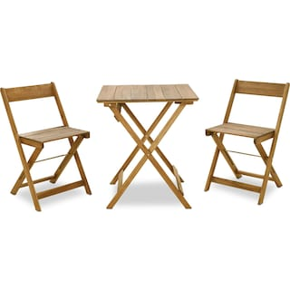 Hampton Beach 3-Piece Outdoor Folding Bistro Set - Brown