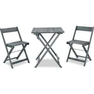 Hampton Beach 3-Piece Outdoor Folding Bistro Set - Gray