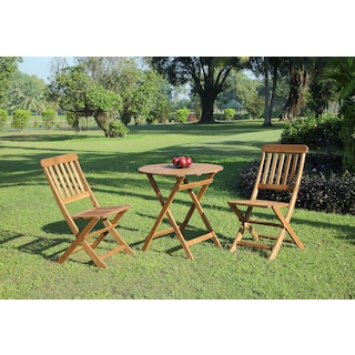 Hampton Beach 3-Piece Outdoor Folding Bistro Set - Teak