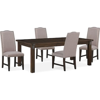 Hampton Dining Table and 4 Upholstered Dining Chairs - Cocoa