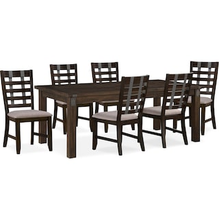 Hampton Dining Table and 6 Dining Chairs - Cocoa