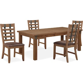 Hampton Dining Table and 4 Dining Chairs - Sandstone