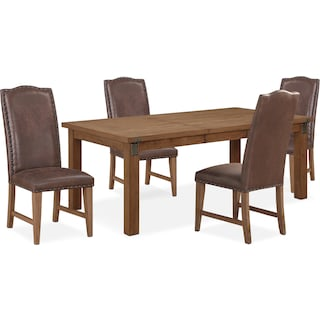 Hampton Dining Table and 4 Upholstered Dining Chairs - Sandstone