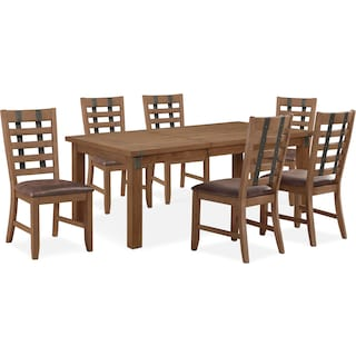 Hampton Dining Table and 6 Dining Chairs - Sandstone