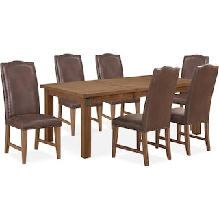 Hampton Dining Table and 6 Upholstered Dining Chairs - Sandstone